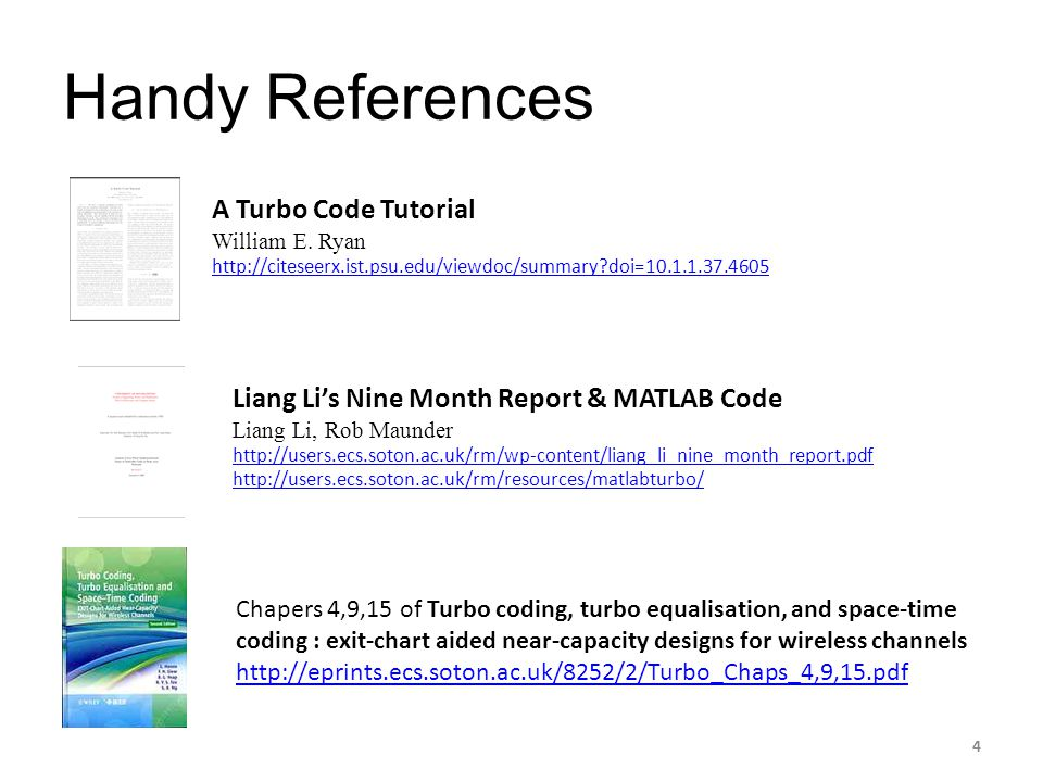 Handy References A Turbo Code Tutorial