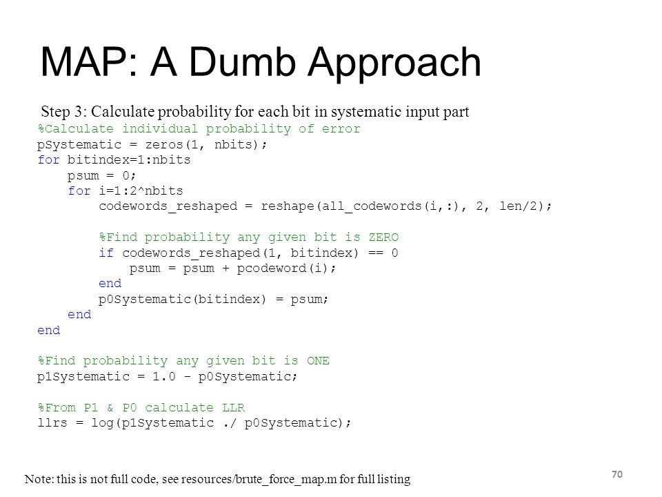 4/14/2017 MAP: A Dumb Approach. Step 3: Calculate probability for each bit in systematic input part.