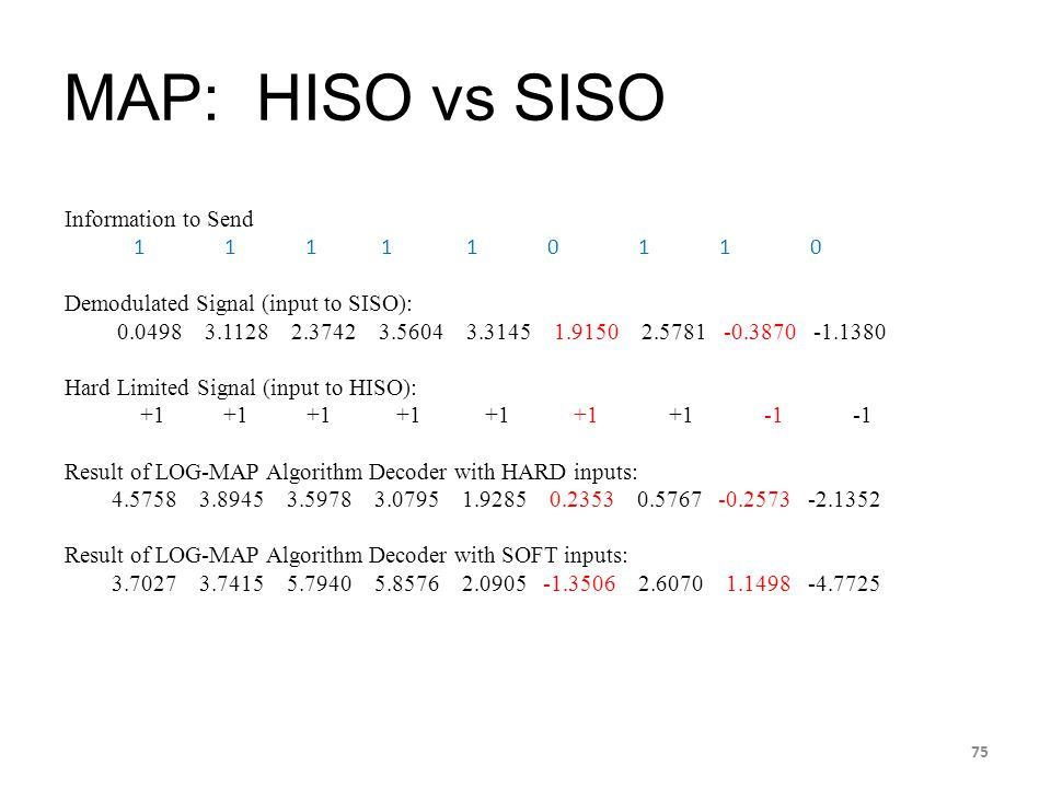 MAP: HISO vs SISO Information to Send 1 1 1 1 1 0 1 1 0