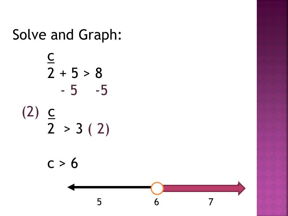 Solve and Graph: c 2 + 5 > 8 - 5 -5 (2) c 2 > 3 ( 2) c > 6