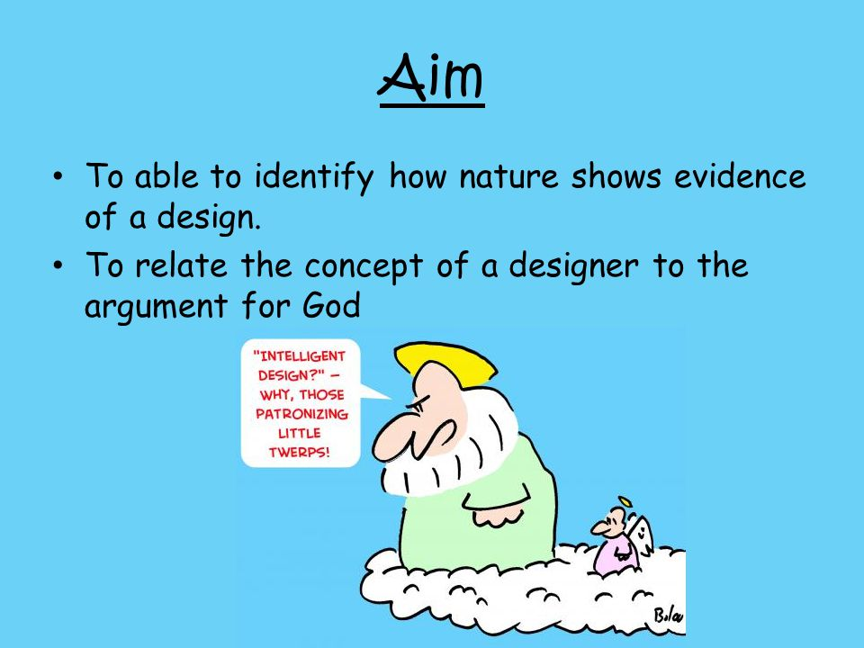 Aim To able to identify how nature shows evidence of a design.