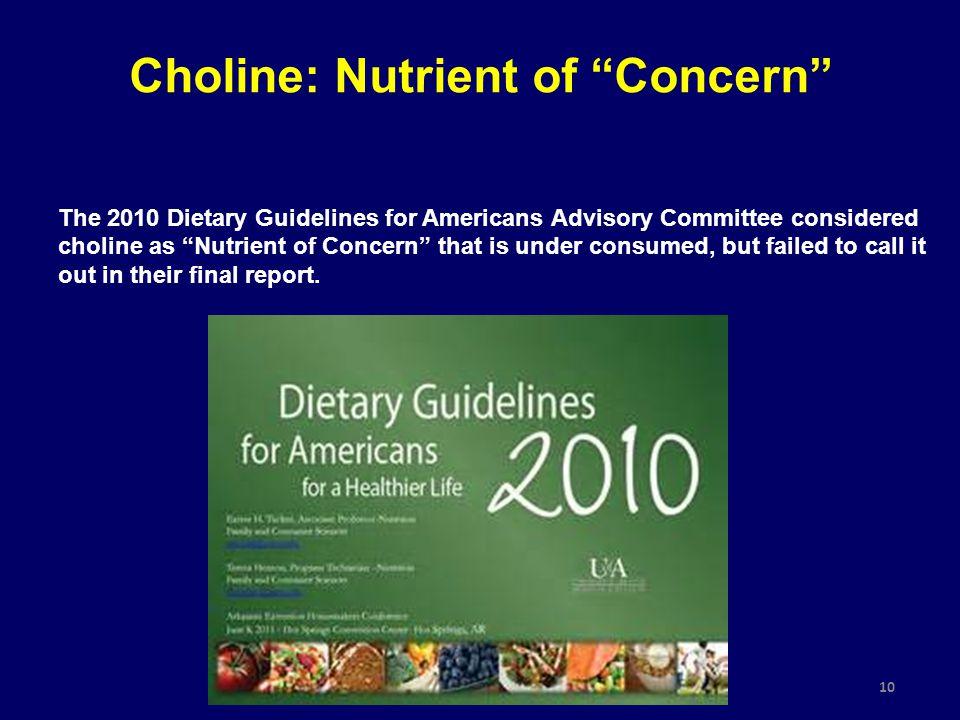 Choline: Nutrient of Concern