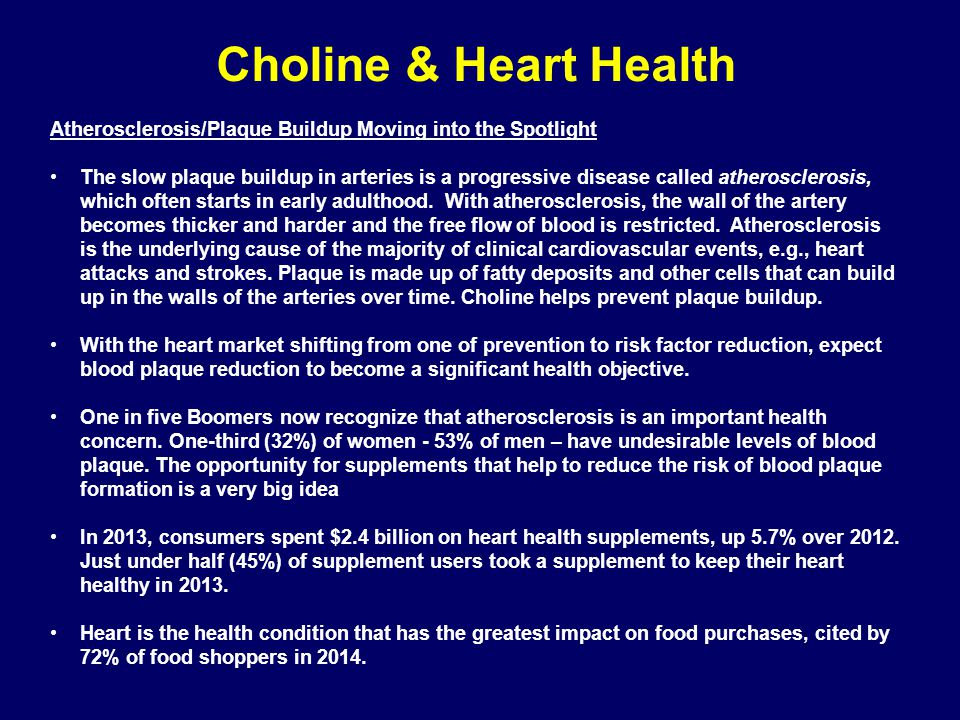 Choline & Heart Health Atherosclerosis/Plaque Buildup Moving into the Spotlight.