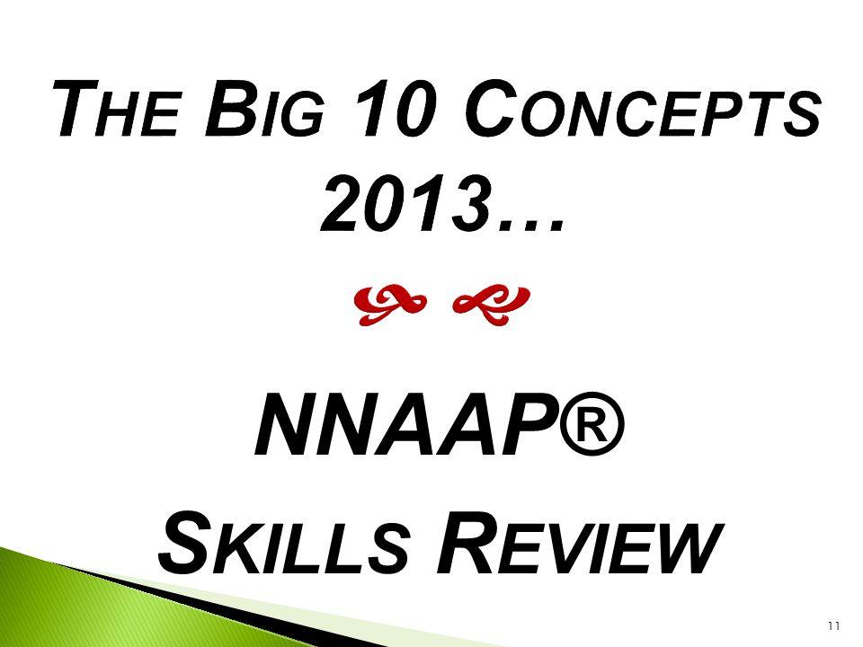 NNAAP® Skills Review The Big 10 Concepts 2013…   1. Most Skills