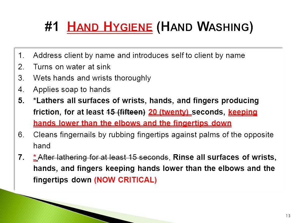 #1 Hand Hygiene (Hand Washing)