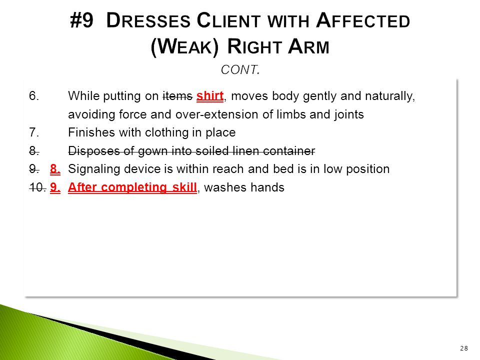 #9 Dresses Client with Affected (Weak) Right Arm cont.