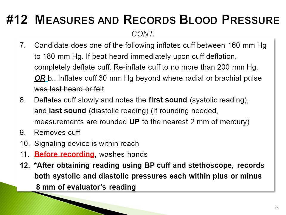 #12 Measures and Records Blood Pressure cont.