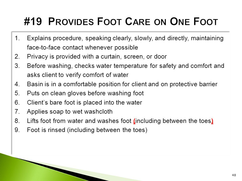 #19 Provides Foot Care on One Foot