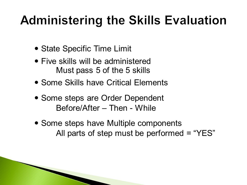 Administering the Skills Evaluation