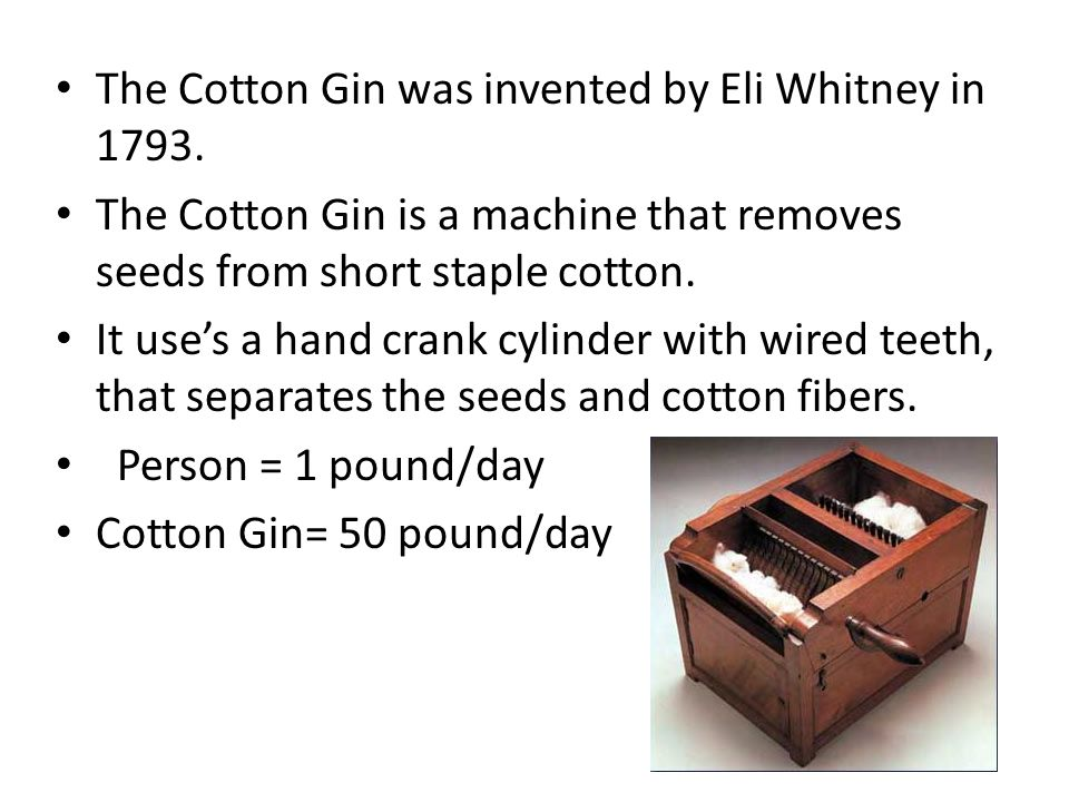 The Cotton Gin was invented by Eli Whitney in 1793.