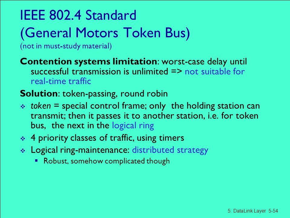 IEEE 802.4 Standard (General Motors Token Bus) (not in must-study material)