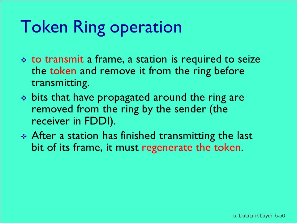 Token Ring operation to transmit a frame, a station is required to seize the token and remove it from the ring before transmitting.