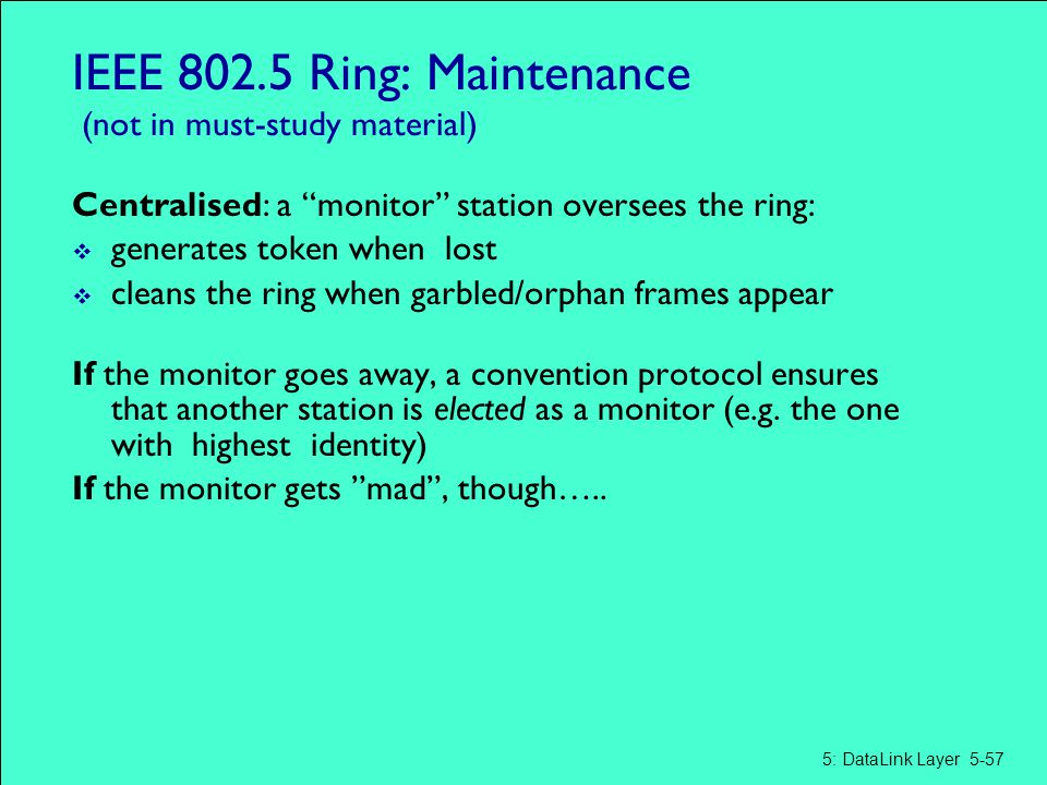 IEEE 802.5 Ring: Maintenance (not in must-study material)