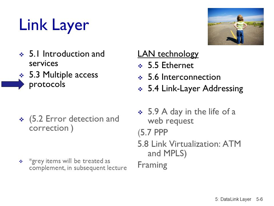 Link Layer 5.1 Introduction and services 5.3 Multiple access protocols