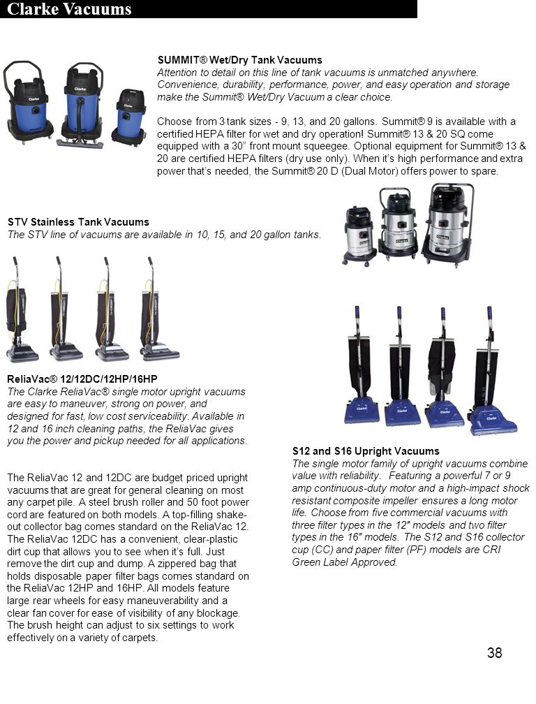 Clarke Vacuums SUMMIT® Wet/Dry Tank Vacuums