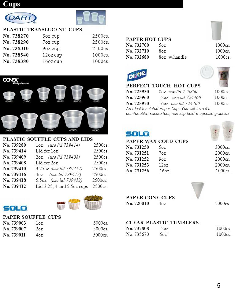 Cups PLASTIC TRANSLUCENT CUPS No. 738270 5oz cup 2500cs.