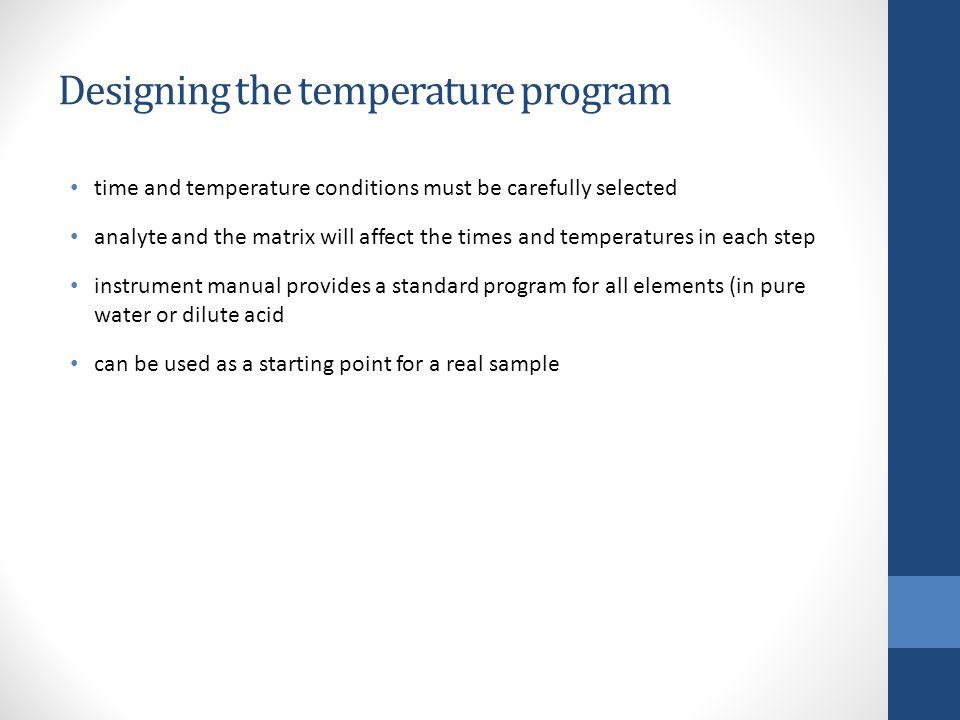 Designing the temperature program