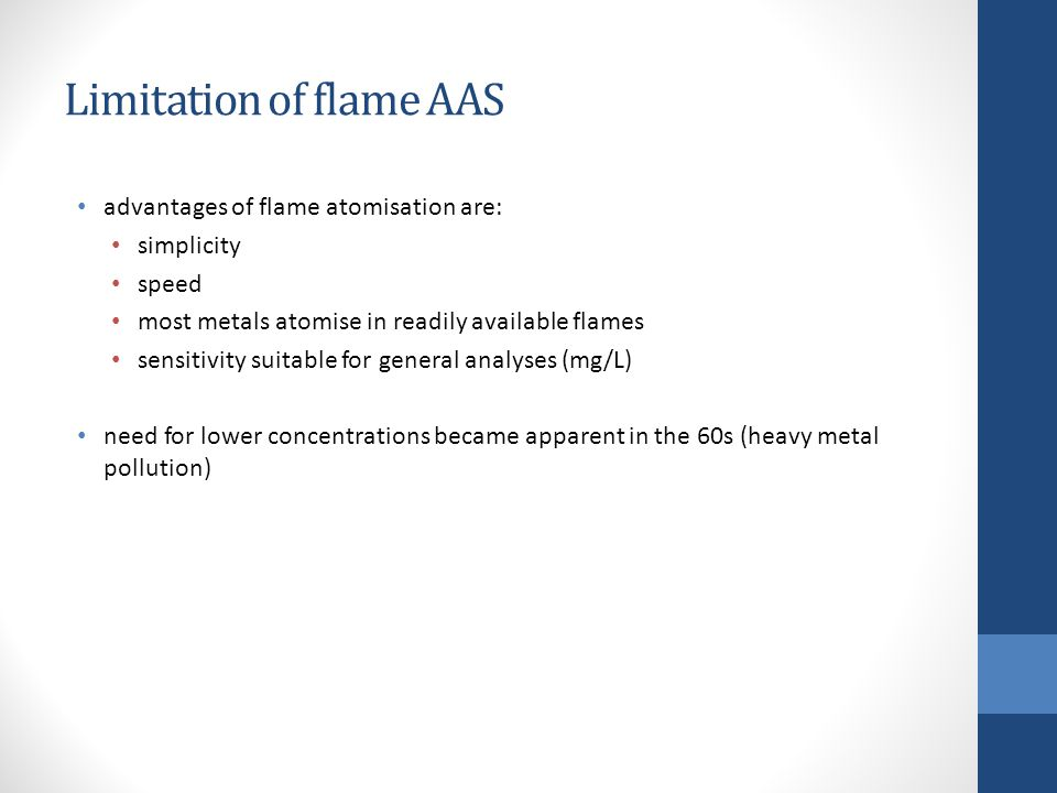 Limitation of flame AAS