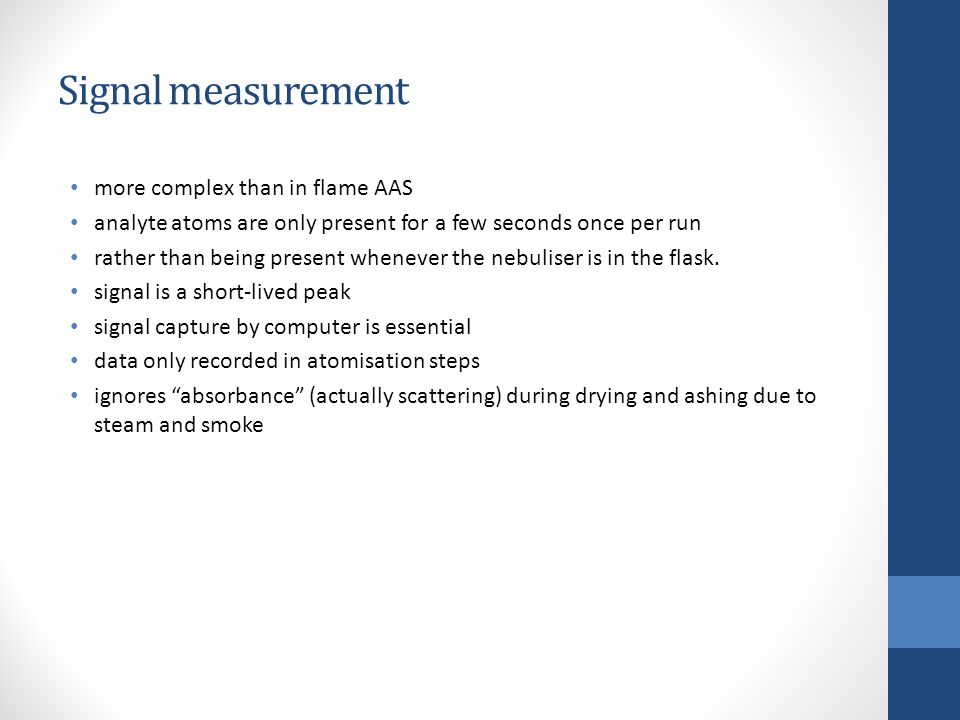 Signal measurement more complex than in flame AAS