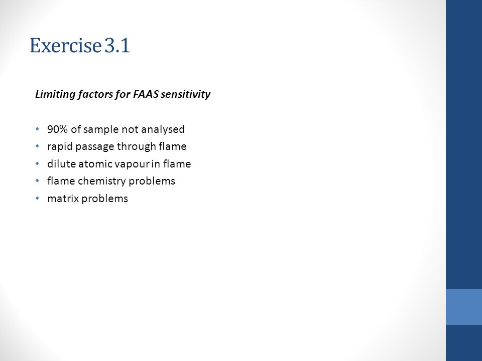 Exercise 3.1 Limiting factors for FAAS sensitivity