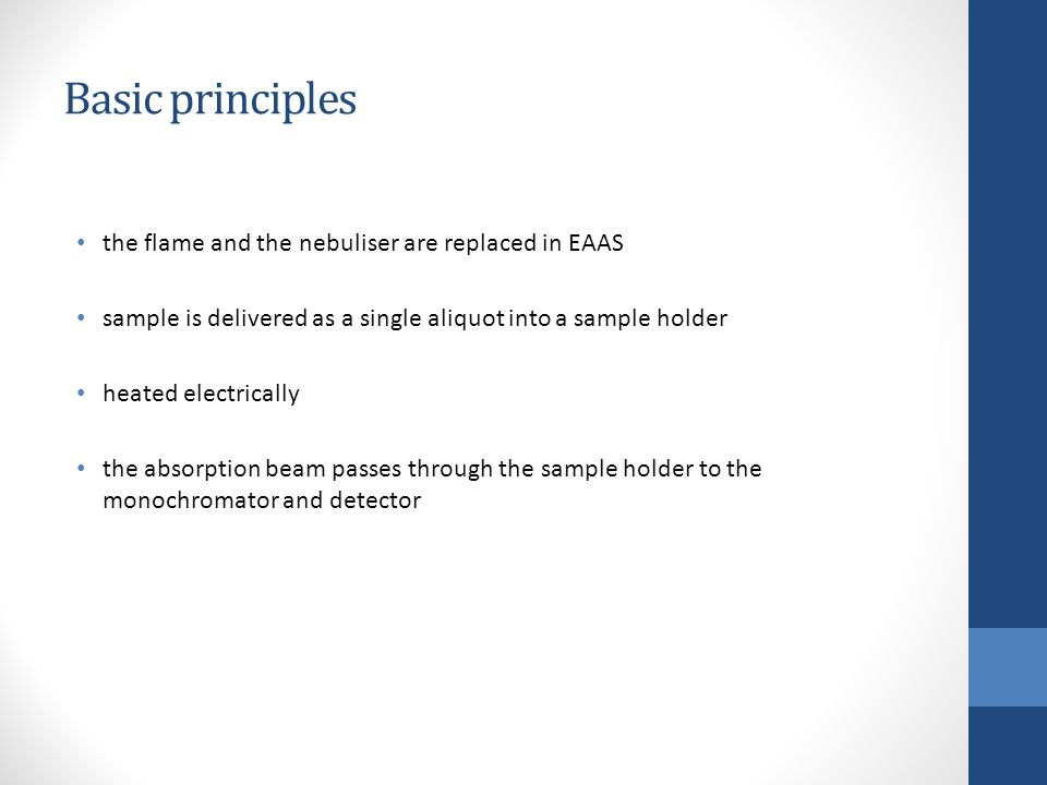 Basic principles the flame and the nebuliser are replaced in EAAS