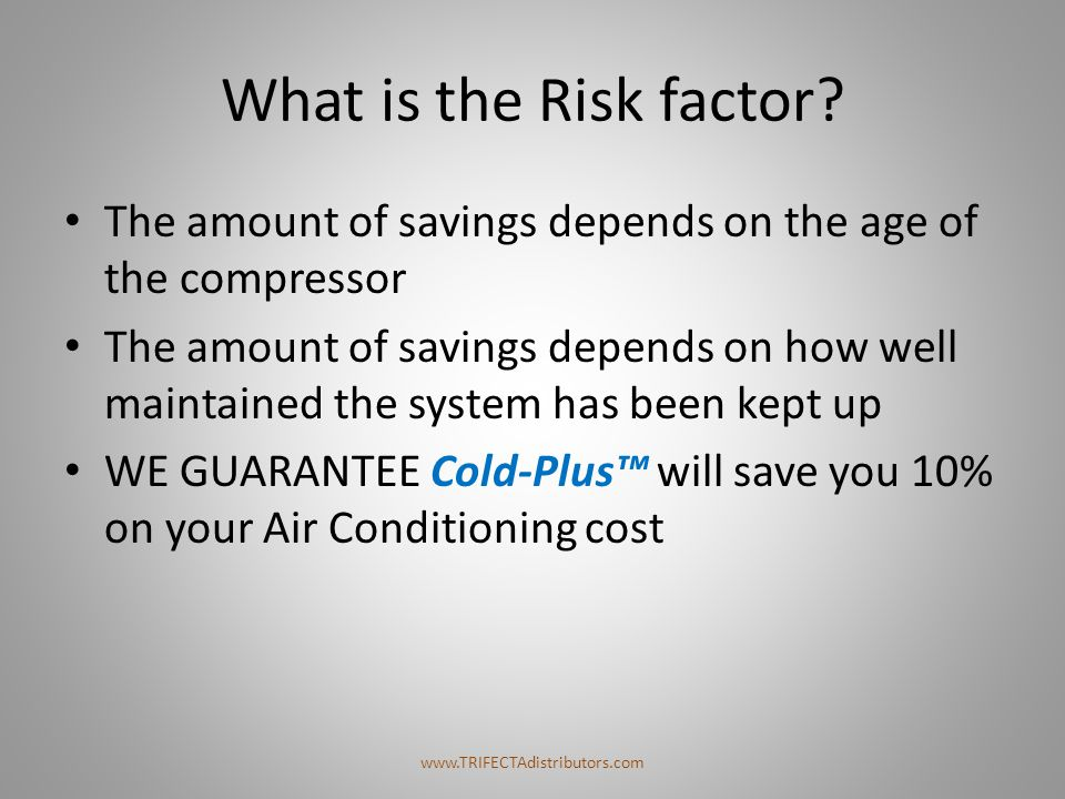 What is the Risk factor The amount of savings depends on the age of the compressor.