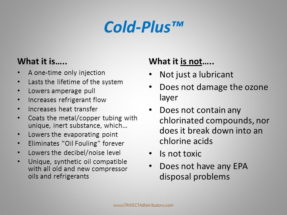 Cold-Plus™ What it is….. What it is not….. Not just a lubricant