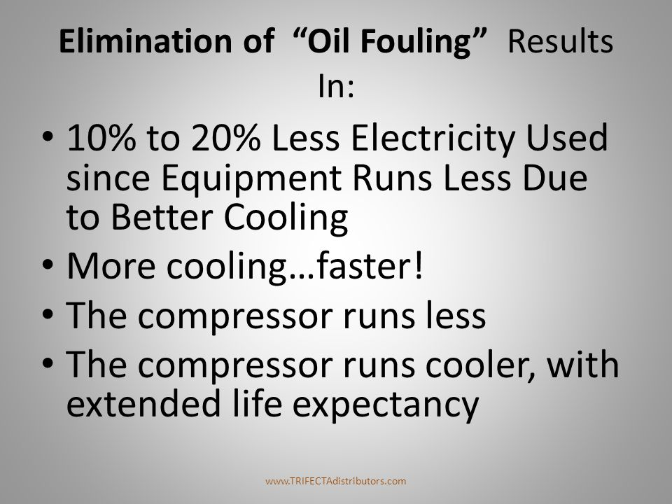 Elimination of Oil Fouling Results In: