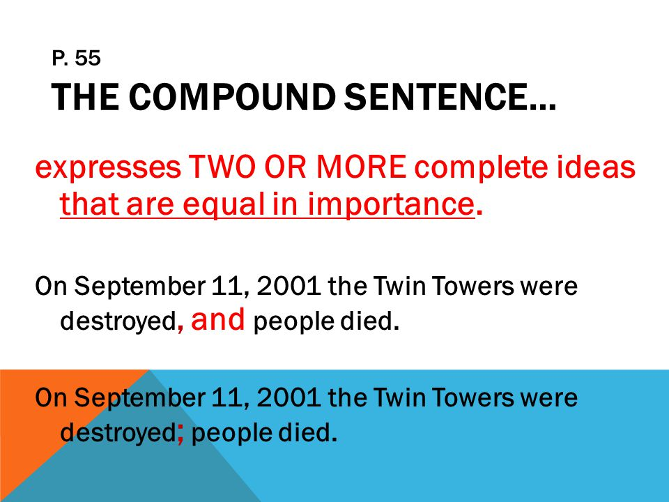 p. 55 The Compound Sentence…