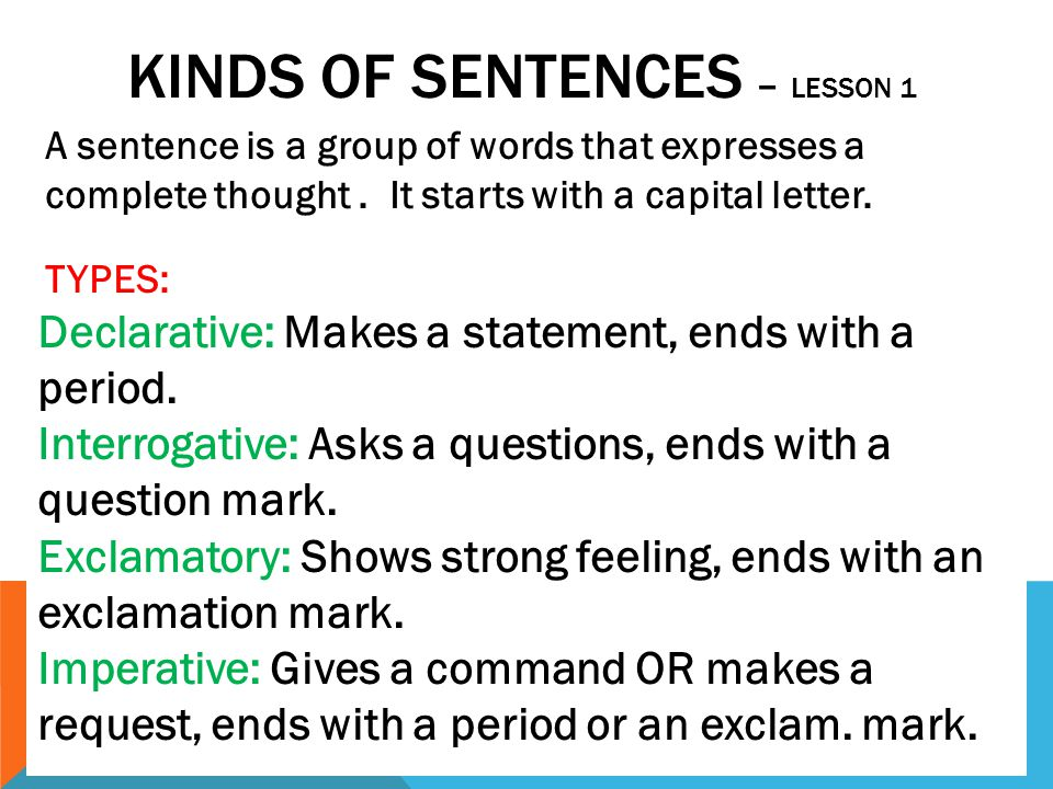 KINDS OF SENTENCES – LESSON 1