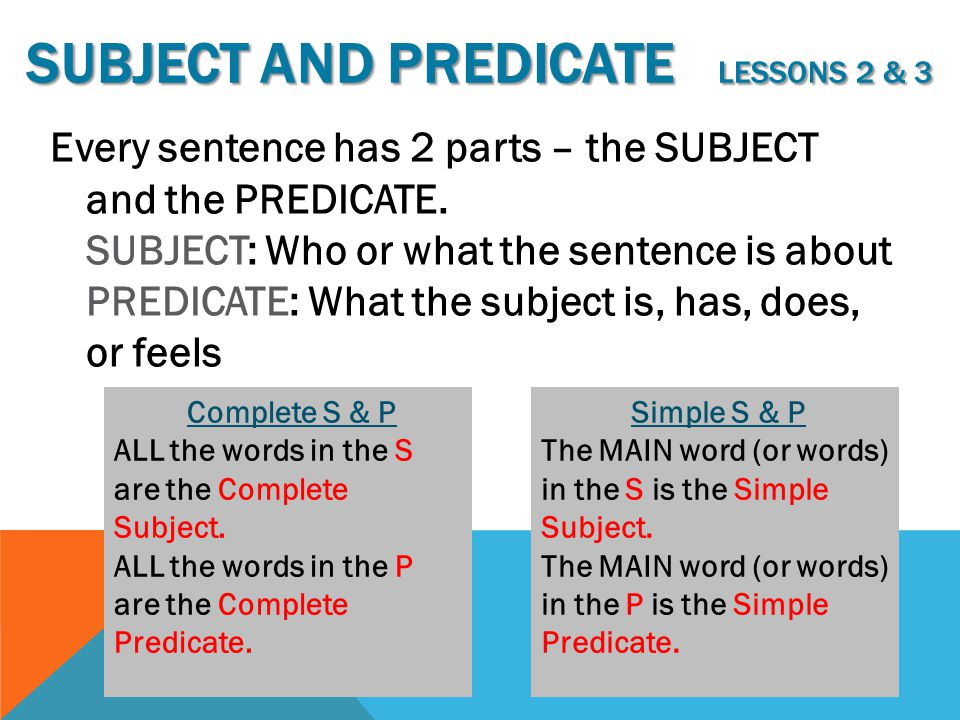 Subject and Predicate lessons 2 & 3