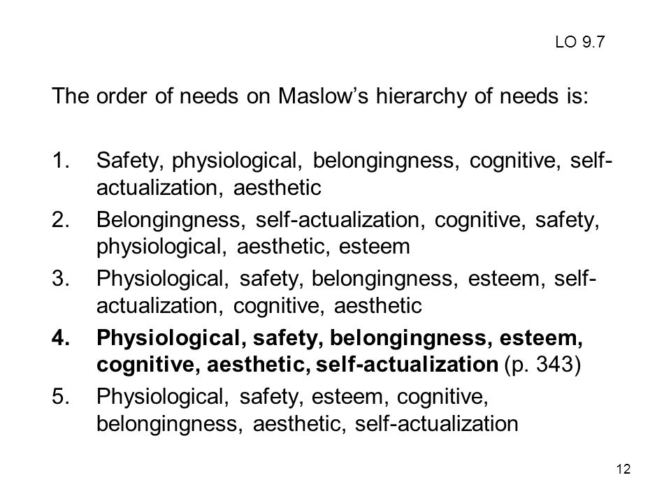 The order of needs on Maslow's hierarchy of needs is: