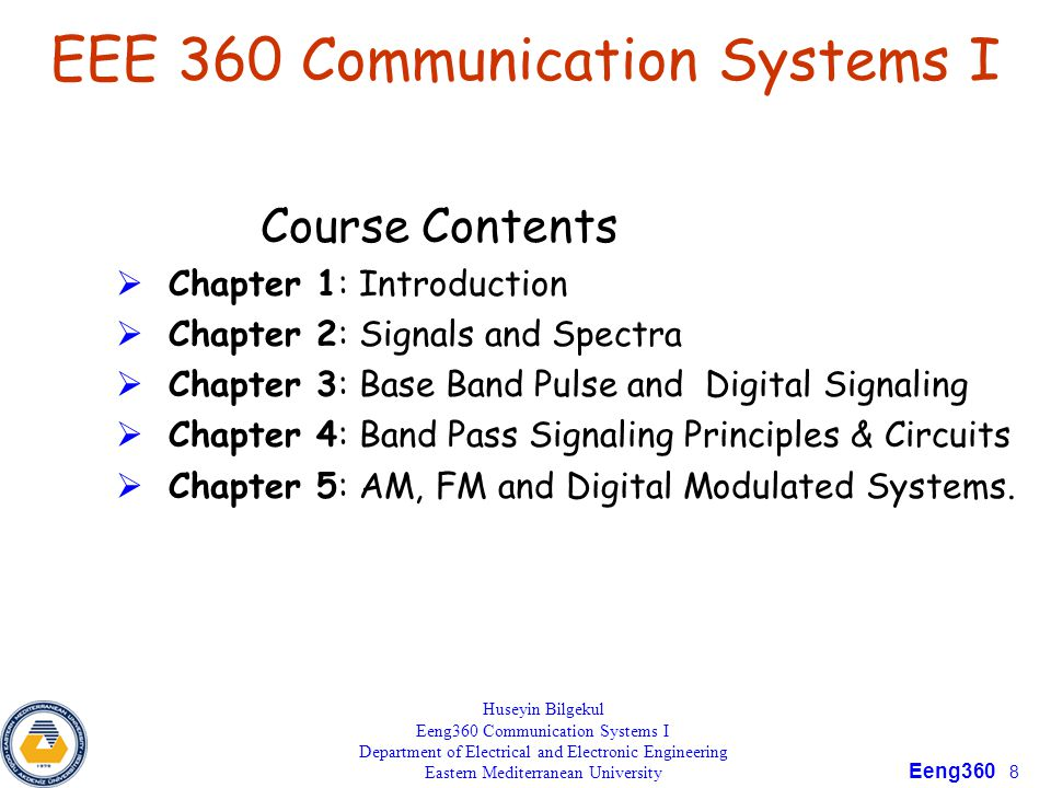 EEE 360 Communication Systems I