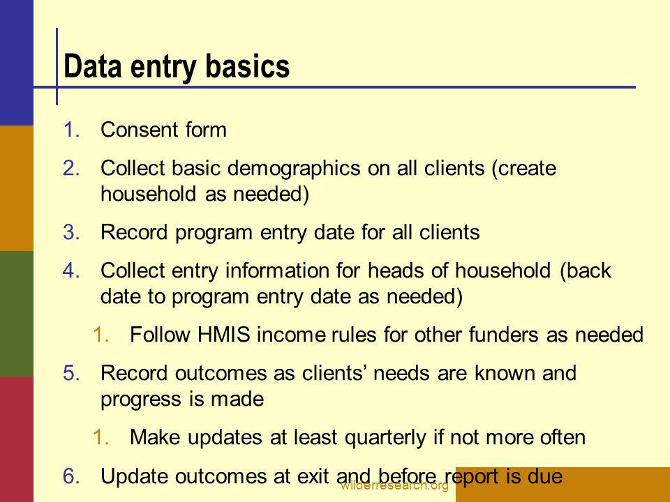 Data entry basics Consent form