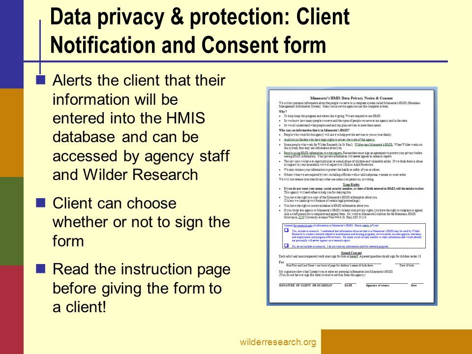 Data privacy & protection: Client Notification and Consent form