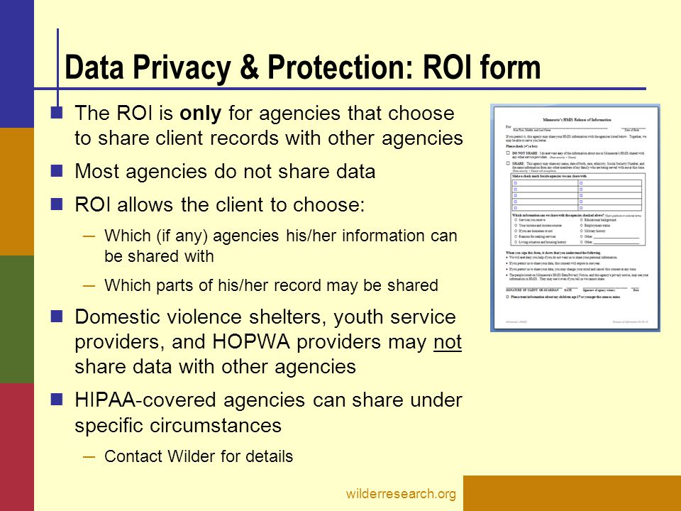 Data Privacy & Protection: ROI form