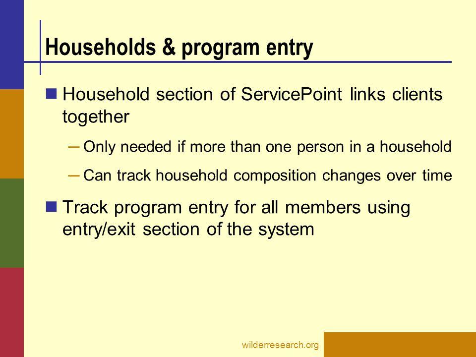 Households & program entry