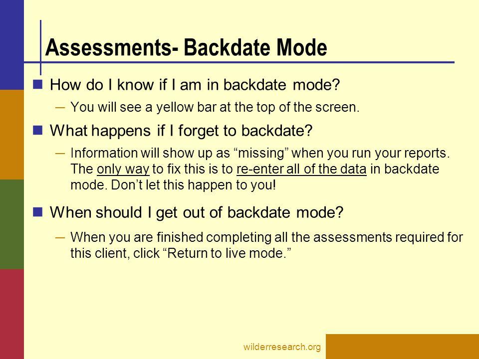 Assessments- Backdate Mode