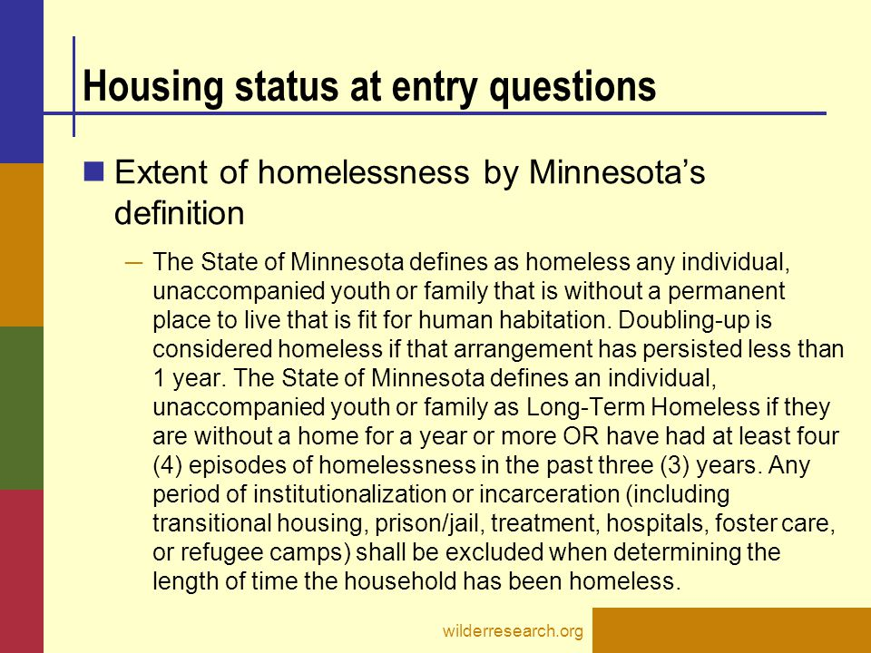 Housing status at entry questions