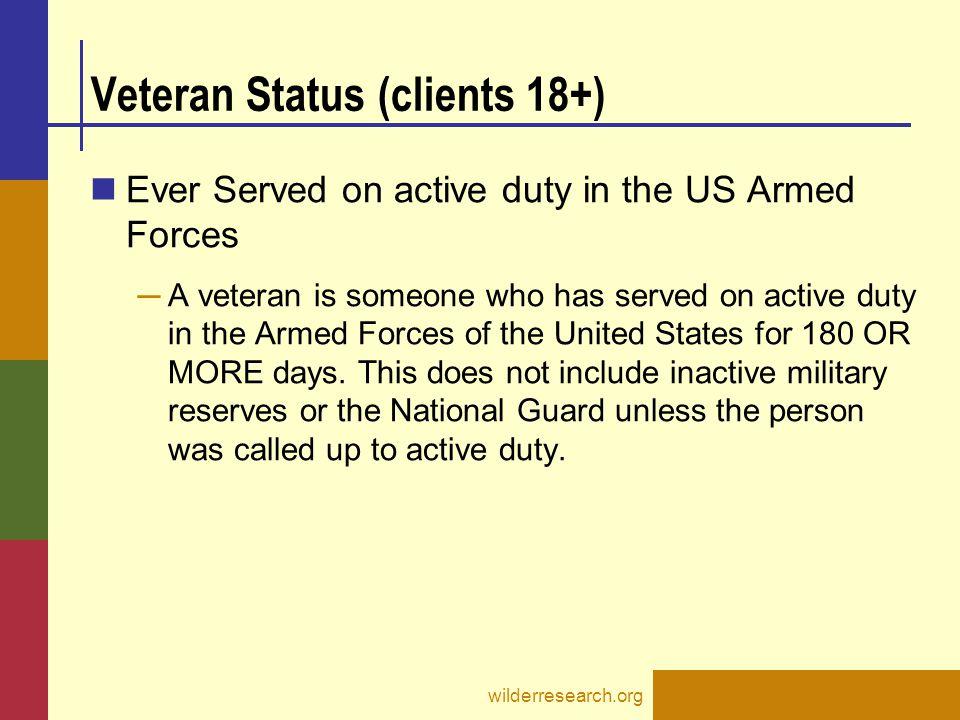 Veteran Status (clients 18+)