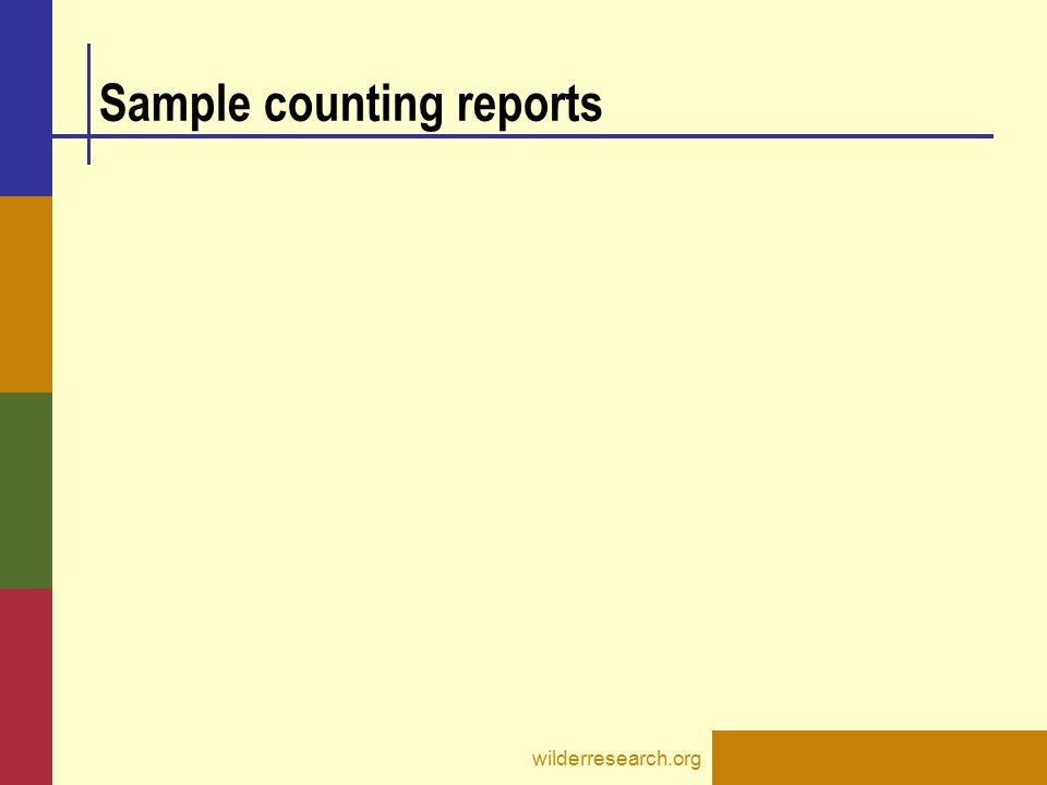 Sample counting reports