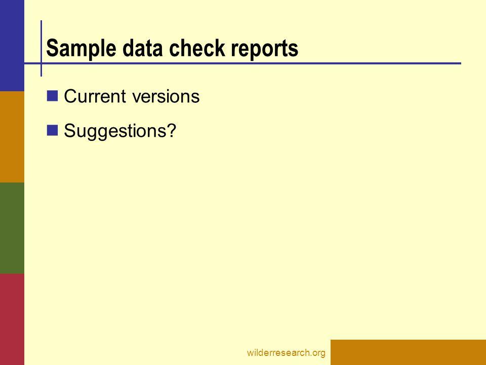Sample data check reports