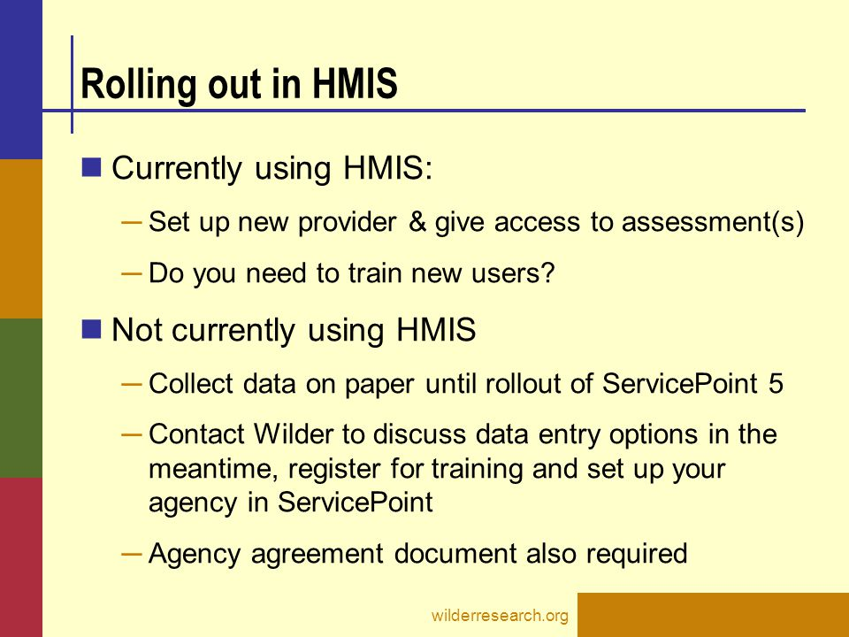 Rolling out in HMIS Currently using HMIS: Not currently using HMIS