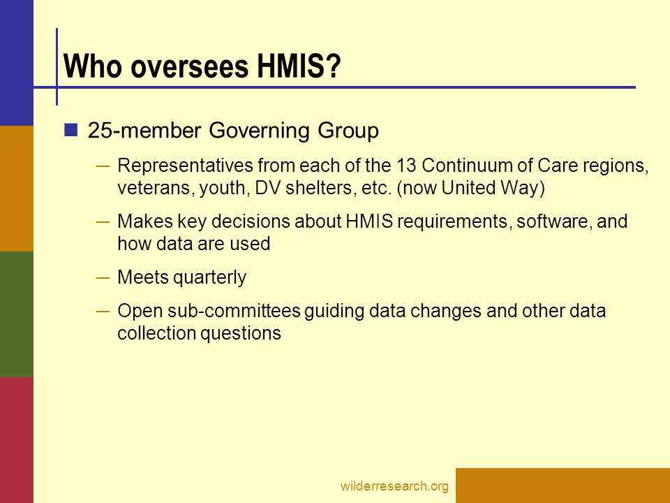 Who oversees HMIS 25-member Governing Group