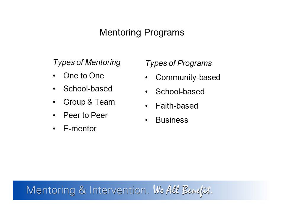 Mentoring Programs Types of Mentoring One to One School-based