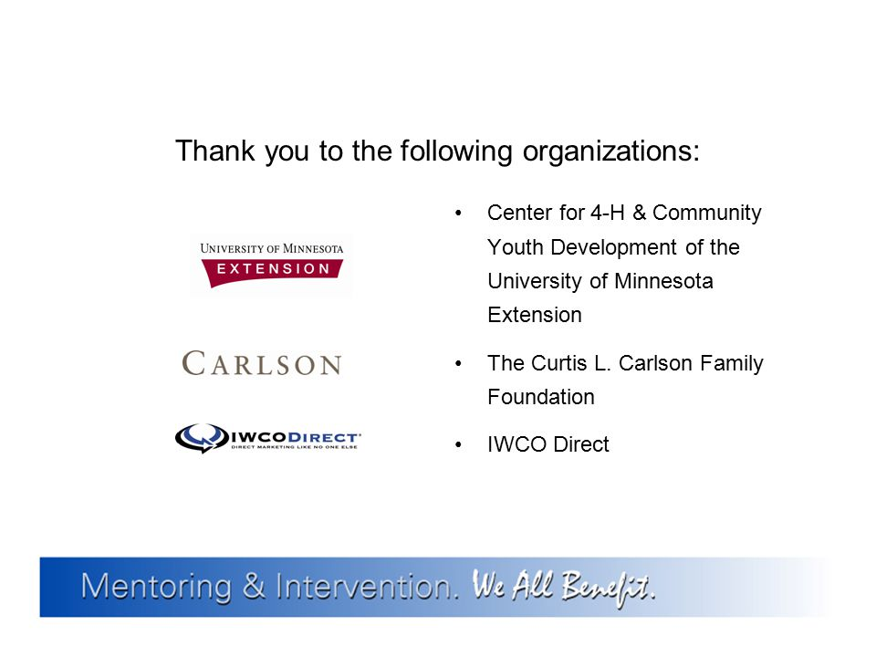Thank you to the following organizations: