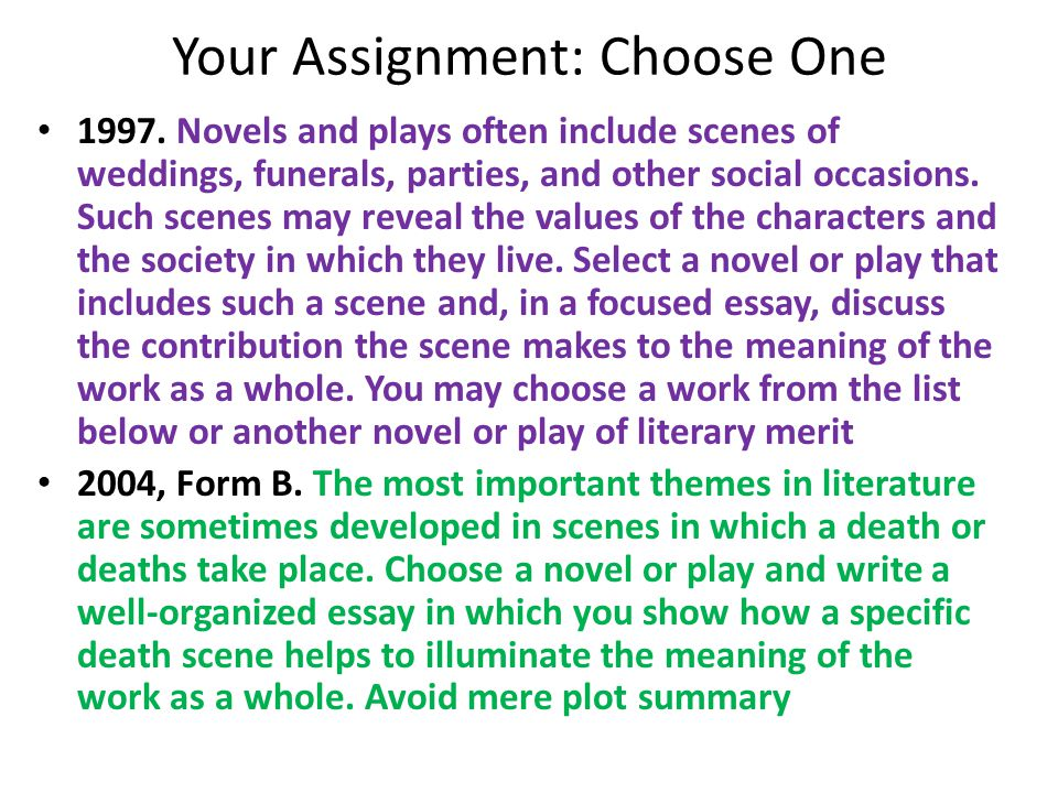 Your Assignment: Choose One