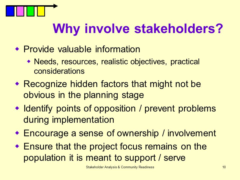 Why involve stakeholders
