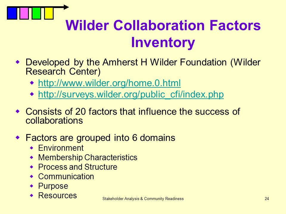 Wilder Collaboration Factors Inventory