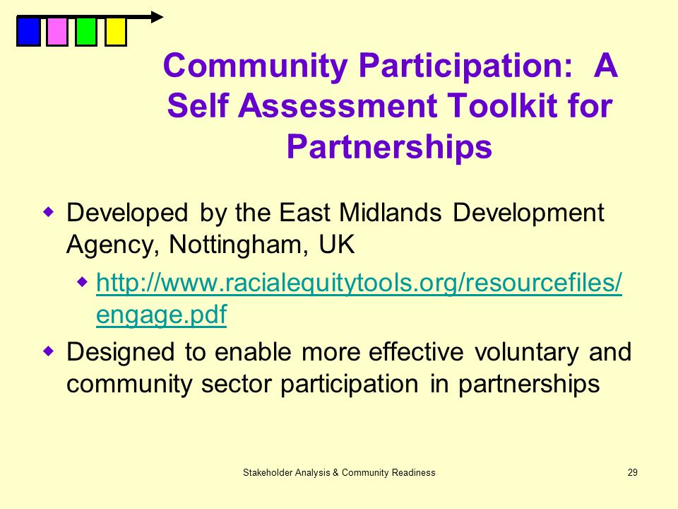 Community Participation: A Self Assessment Toolkit for Partnerships